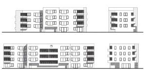 Hostín - bytový dům jižní a západní pohled